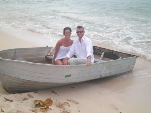 couple in boat, Blue water beach, Grand Cayman