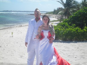 wind-swept wedding, North Side beach Grand Cayman