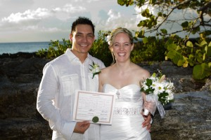 Canada-Cayman Connection for this Sunset Beach Wedding